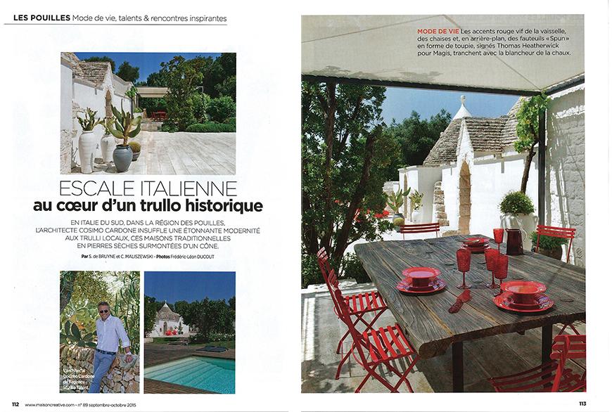 MAISON CREATIVE - Escale italienne au coer d'un trulllo historique, pp. 112-119, Blue & Bed cubique, pp. 125-128, ottobre 2015;