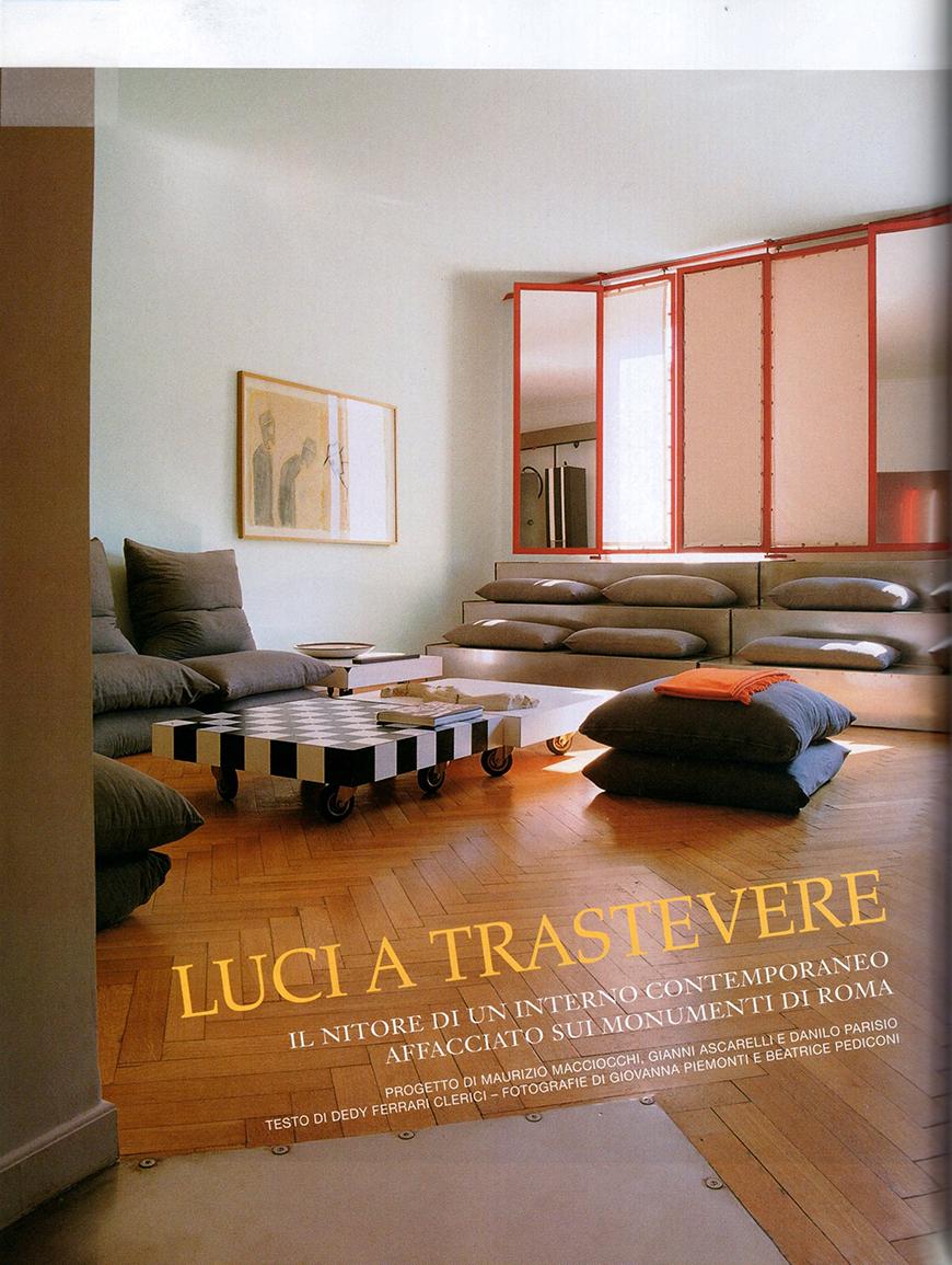 AD - Architectural Digest. Le più belle case del mondo: In & Out, n° 301, giugno 2006, luci a Trastevere, pp 158-163