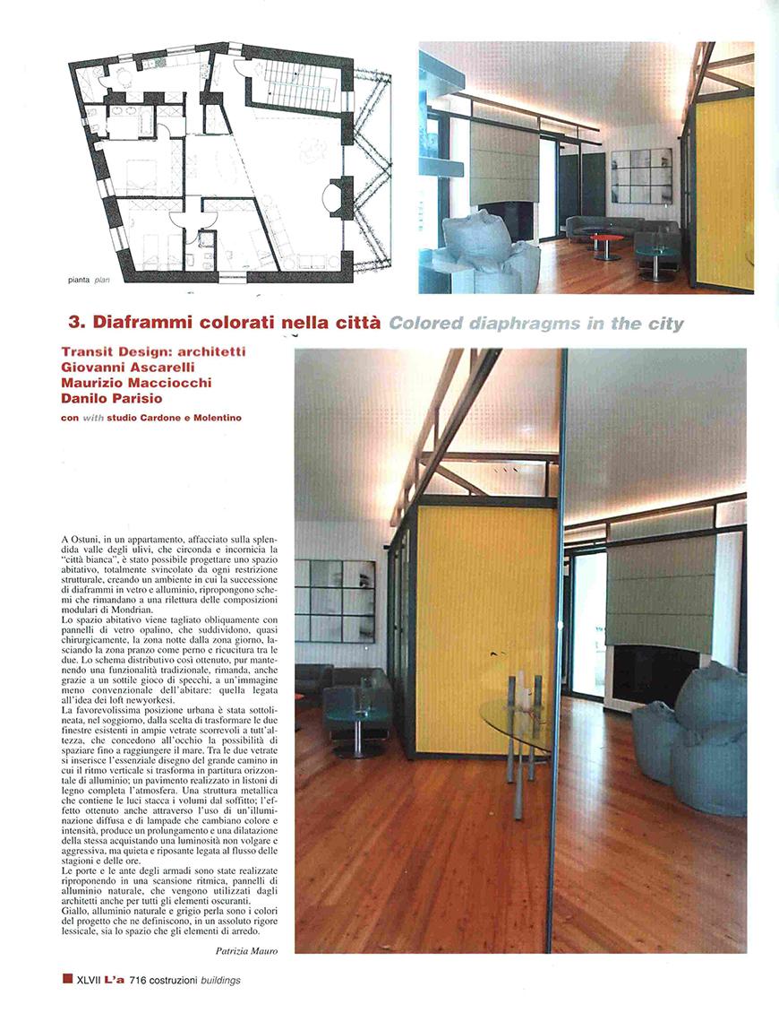 """L'ARCHITETTURA cronache e storia"""", n° 554, dicembre 2001, Diaframmi colorati nella città, pp. 716-717"""