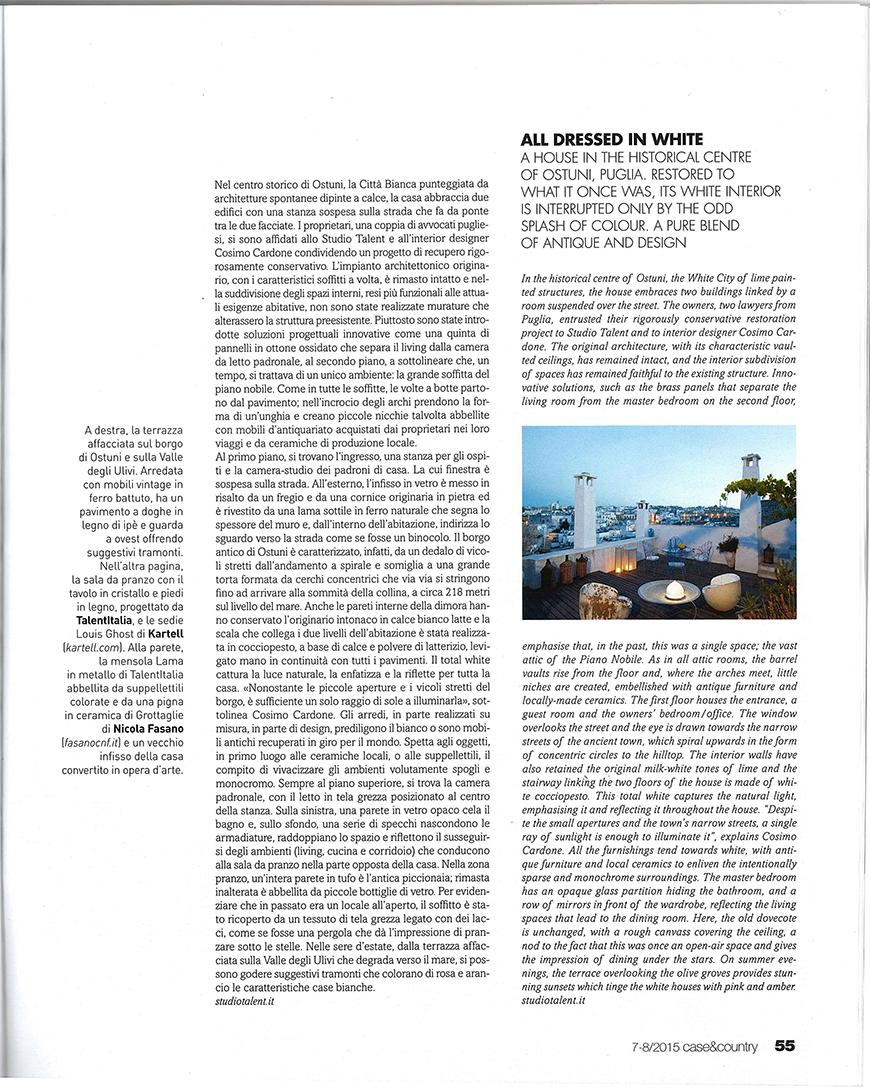 CASE & COUNTRY - Vestita di bianco, pp. 50-59, agosto 2015