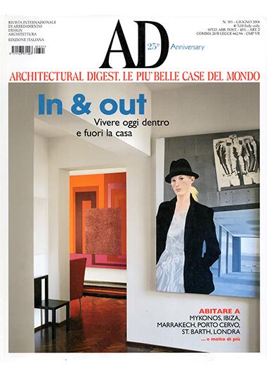 1. AD - Architectural Digest. Le più belle case del mondo: In & Out, n° 301, giugno 2006, luci a Trastevere, pp 158-163