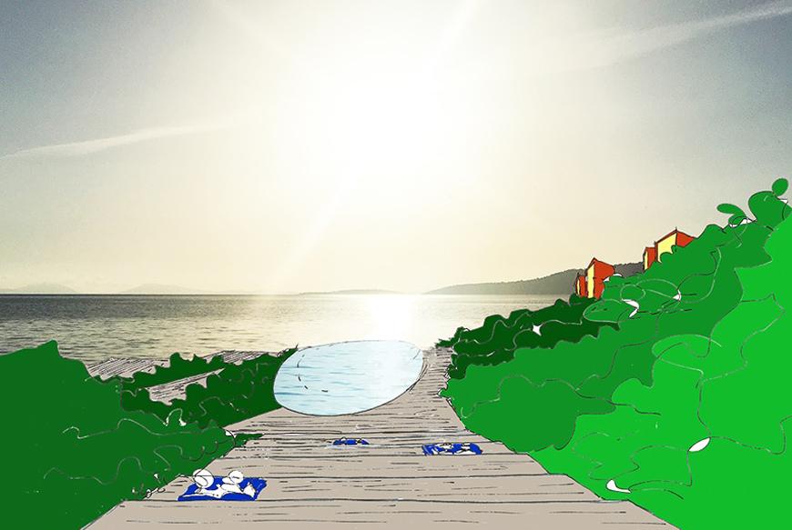 Il progetto nasce con l'obiettivo di dar vita a un hotel diffuso di altissimo livello di servizi e confort, per un totale di circa 50 unità, tra ville e suite. Sfruttando il terreno a forte pendenza coi preesistenti terrazzamenti un tempo a coltivo che degradano verso il mare dove il sole tramonta, il progetto prevede volumi inseriti tra gli ulivi esistenti, ciascuno con vista mare, piscina e giardino privato. Il corpo servizi/reception/ristorante trova collocazione a monte. Più a valle invece sono previsti un altro ristorante e la pool-house con la grande piscina a sfioro sospesa, di forma ellittica, quasi a prolungamento dell'acqua del Mediterraneo.